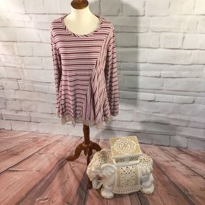 LOGO Lori Goldstein Striped Lace Tunic